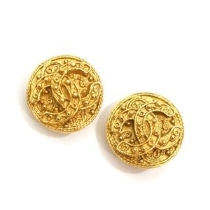 Chanel Gold Byzantine CC Logo Vintage Earrings